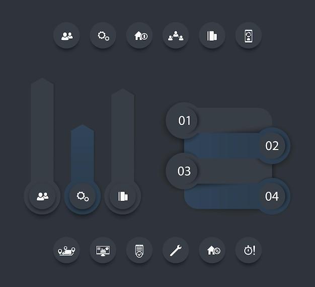Infografik-elemente für geschäftsanalysen, berichtsdesign, zeitleiste, schrittbeschriftungen, 1 2 3 4, wachstumspfeile, symbole, dunkle version