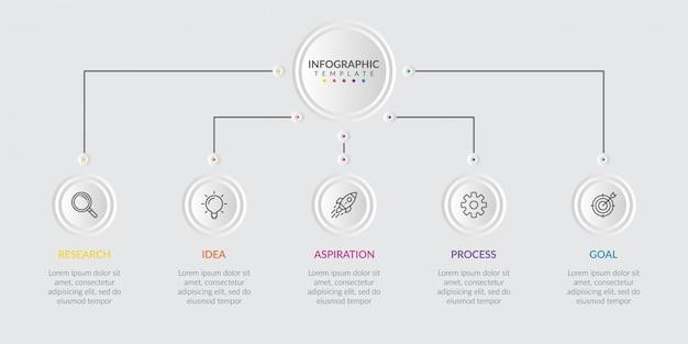 Infografik-elemente für inhalte mit symbolen und optionen oder schritten.
