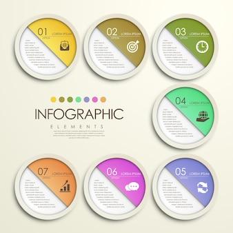 Infografik-elemente im modernen bunten kreispapieraufkleberstil