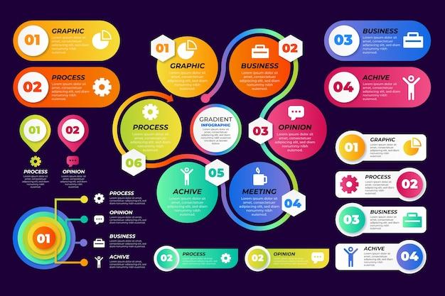 Infografik-elemente mit farbverlauf festgelegt
