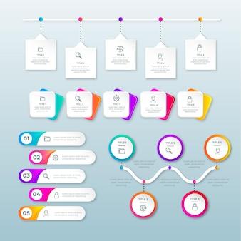Infografik-elementsammlung mit farbverlauf