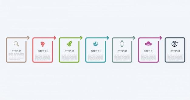 Infografik-entwurfsvorlage der zeitachse mit schrittstruktur. geschäftskonzept mit 7 optionen oder schritten.