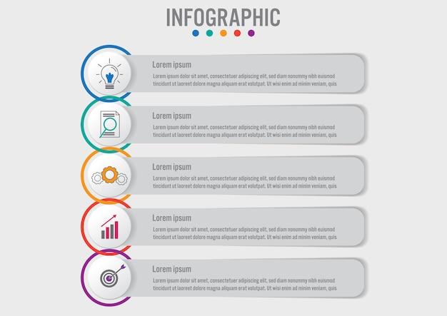 Infografik etiketten vorlage mit 5 optionen