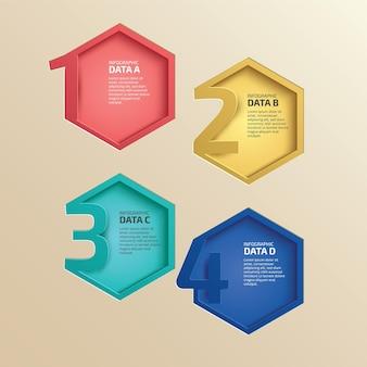 Infografik-etikettendesign mit 4 optionen oder stufeninfografiken für das geschäftskonzept