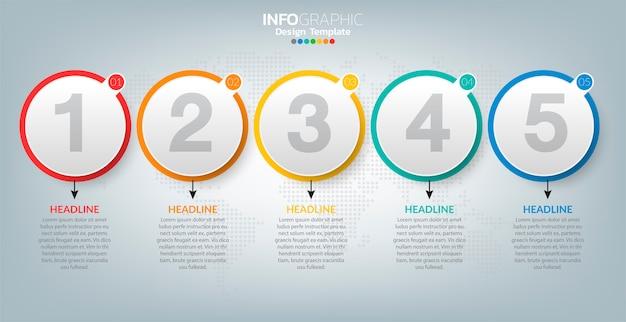 Infografik-etikettenvorlage mit symbolen und 5 optionen oder schritten.