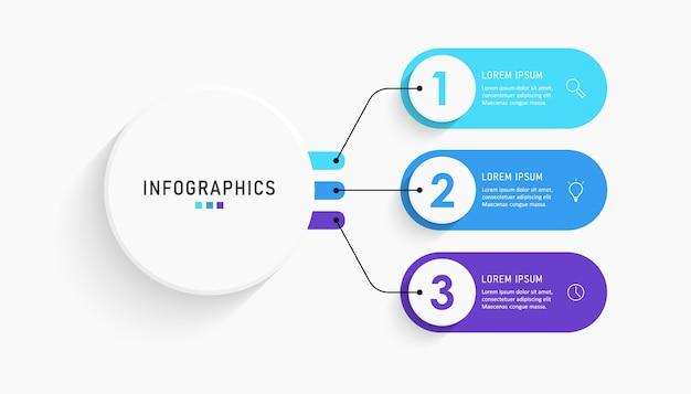 Infografik-etikettenvorlage mit symbolen und optionen oder schritten.
