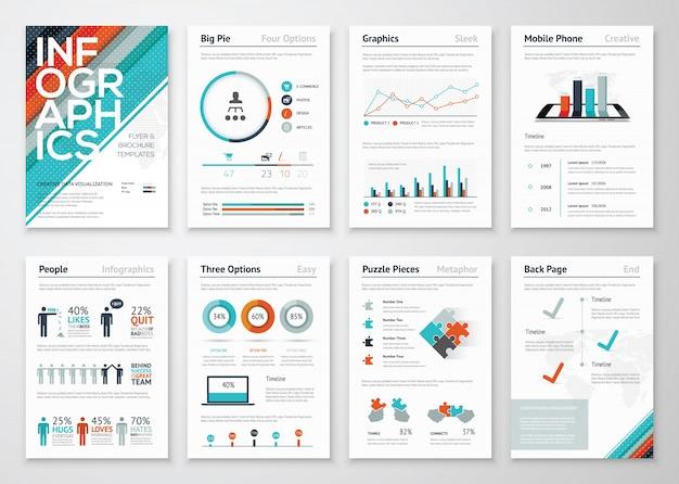 Infografik-flyer und broschürenelemente zur visualisierung von geschäftsdaten
