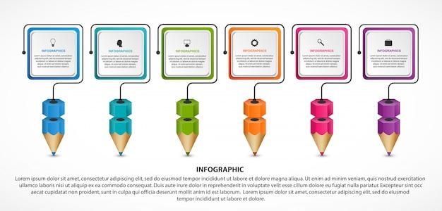 Infografik für bildung mit bunten stiften.