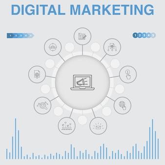 Infografik für digitales marketing mit symbolen. enthält symbole wie internet, marktforschung, soziale kampagne, pay-per-click