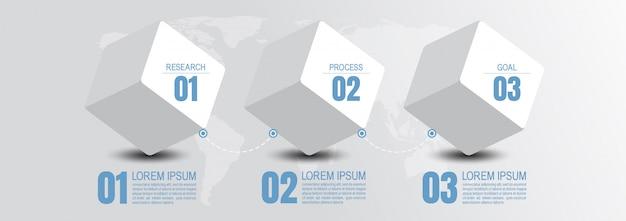 Infografik geschäftsdaten mit 3 schritten