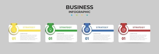 Infografik geschäftselement mit optionen, schritten, nummernvorlagenentwurf