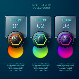 Infografik-geschäftskonzept mit drei rechteckigen glänzenden optionsfeldern mit platz für bearbeitbaren text und farbenfrohen piktogrammen