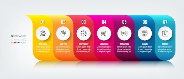 Infografik geschäftsvorlage mit schritt oder option
