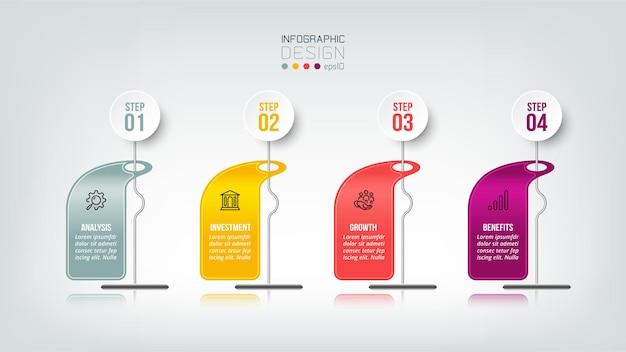 Infografik-geschäftsvorlage mit schritt- oder optionsdesign Premium Vektoren