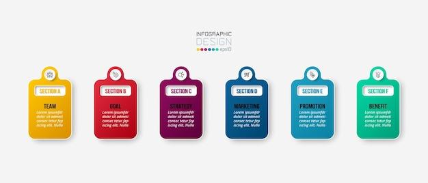 Infografik-geschäftsvorlage mit schritt- oder optionsdesign