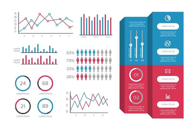 Infografik im flachen design mit retro-farben