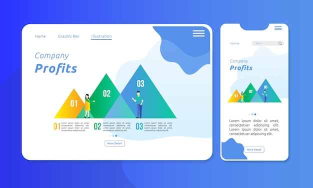 Infografik in dreieck-chart-leiste für unternehmenspräsentation