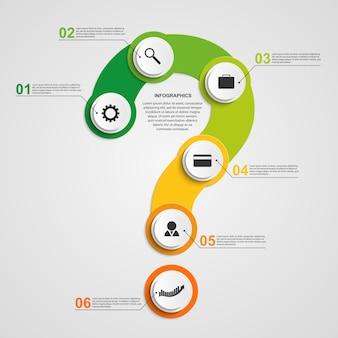 Infografik in form von fragezeichen.