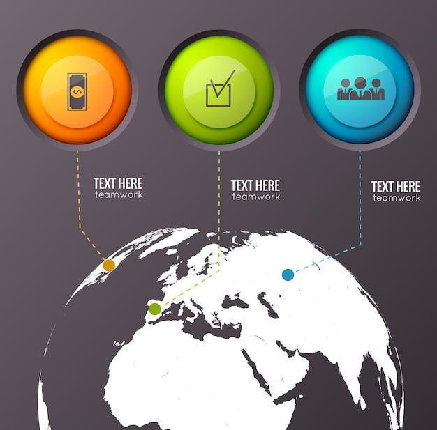 Infografik-komposition mit drei knöpfen verschiedener farbe, die mit punkten auf der erdkugel verbunden sind