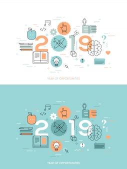 Infografik-konzept 2018 jahr der möglichkeiten