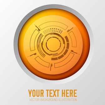 Infografik-konzept mit dem orangefarbenen kreis des futuristischen berührungsschnittstellenelements mit runden linien und umständlicher rahmenillustration