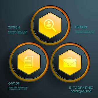 Infografik-konzept mit drei orangefarbenen sechseckigen webelementen und geschäftssymbolen
