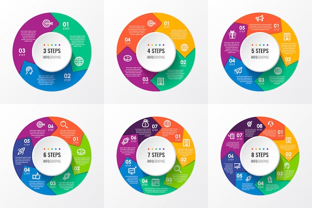 Infografik kreispfeile mit symbolen und 3, 4, 5, 6, 7, 8 optionen oder schritten. unternehmenskonzept.