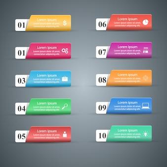 Infografik. liste von 10 artikeln.
