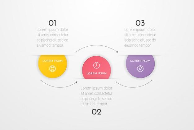 Infografik mit 3 kreisoptionen, teilen, schritten, zeitleisten oder prozessen.