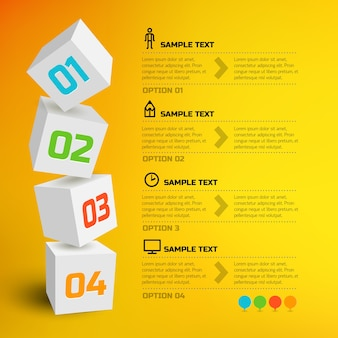 Infografik mit 3d-würfeln