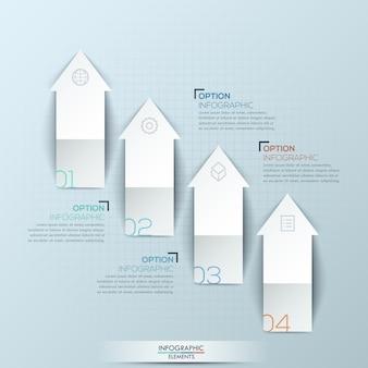 Infografik mit 4 nummerierten nach oben zeigenden pfeilen und textfeldern
