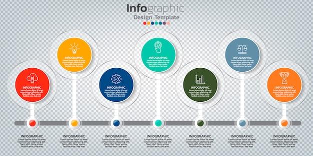 Infografik mit 7 optionen, schritten oder prozessen.