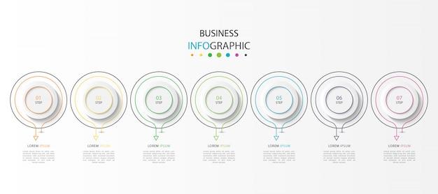 Infografik mit 7 schritten oder optionen