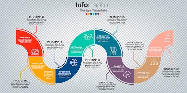 Infografik mit 8 optionen, schritten oder prozessen.