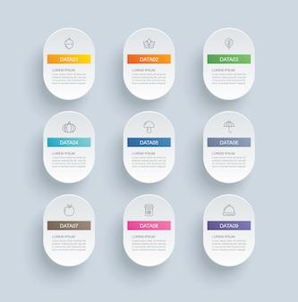 Infografik mit 9 ovalen schritten und abstrakter zeitleistenvorlage. moderner hintergrund des präsentationsschrittgeschäfts.