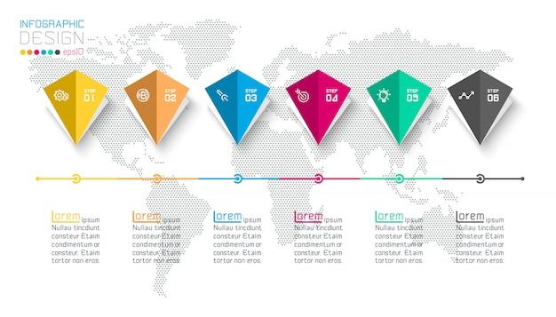 Infografik mit bar-etiketten mit 6 schritten.