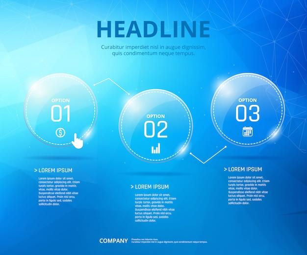 Infografik mit drei schritten
