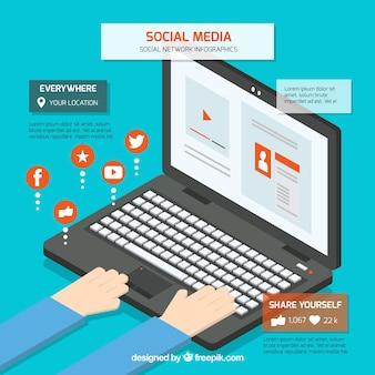 Infografik mit einem computer zu sozialen netzwerken verbunden