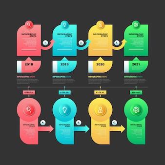 Infografik mit farbverlauf schritte vorlage