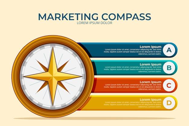 Infografik mit flachem designkompass