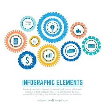 Infografik mit getriebe Kostenlosen Vektoren