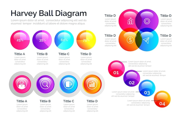 Infografik mit gradienten-harvey-ball-diagrammen