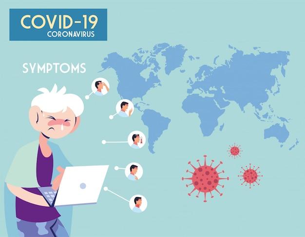 Infografik mit inkubation und symptomen mit symbolen und infizierter person