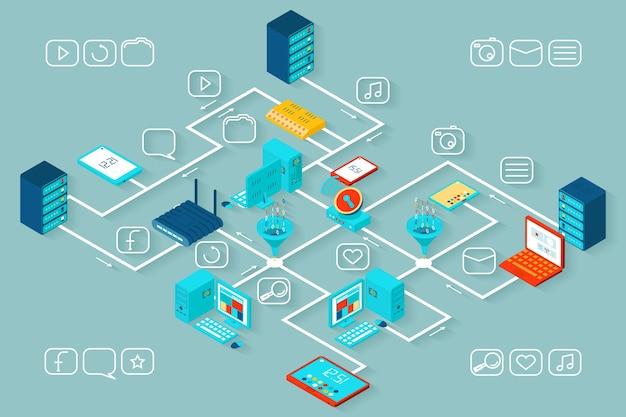 Infografik mit isometrischen daten. information und technologie, wachstum und seo, datenbank- und prozessillustration