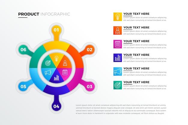 Infografik mit kreativen farbverlaufsprodukten