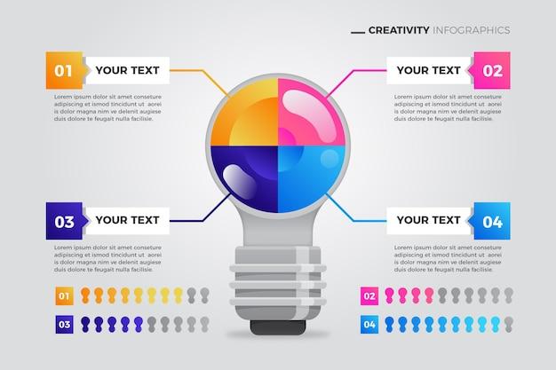Infografik mit kreativer farbverlaufskreativität