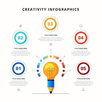 Infografik mit kreativität für flaches design