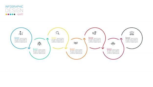 Infografik mit kreisbeschriftung schritt für schritt.
