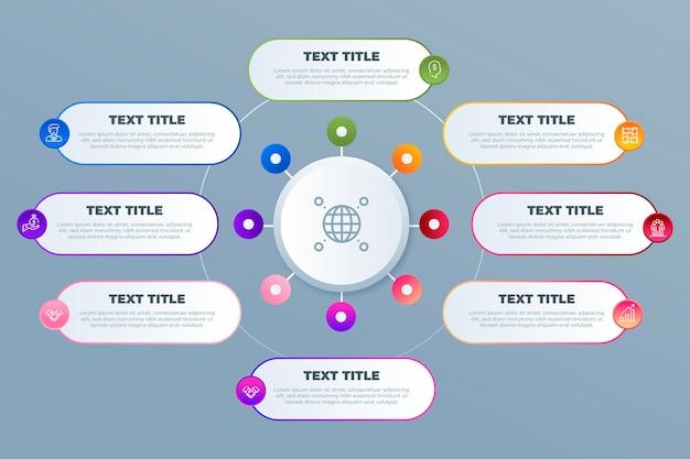 Infografik mit kreisförmigem verlaufsdiagramm