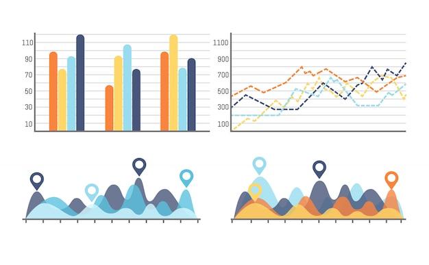 Infografik mit kurven, steigerung der datenergebnisse